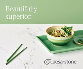 Caesarstone countertop with a bowl of noodles