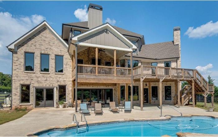 Brick home with beautiful, large windows