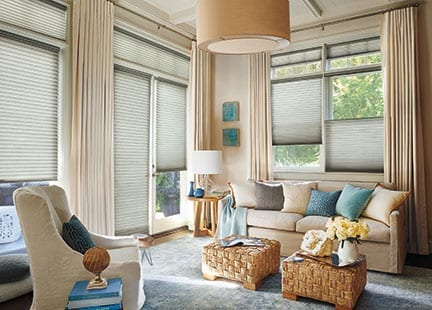Elegant living room with blinds and curtains