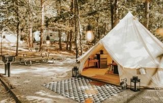 Camping site with luxury tent