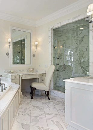 Elegant bathroom design with Calacatta Gold Tile