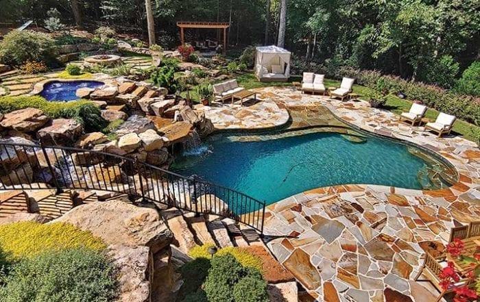 Beautiful backyard with pool, spa, fountain and cabana